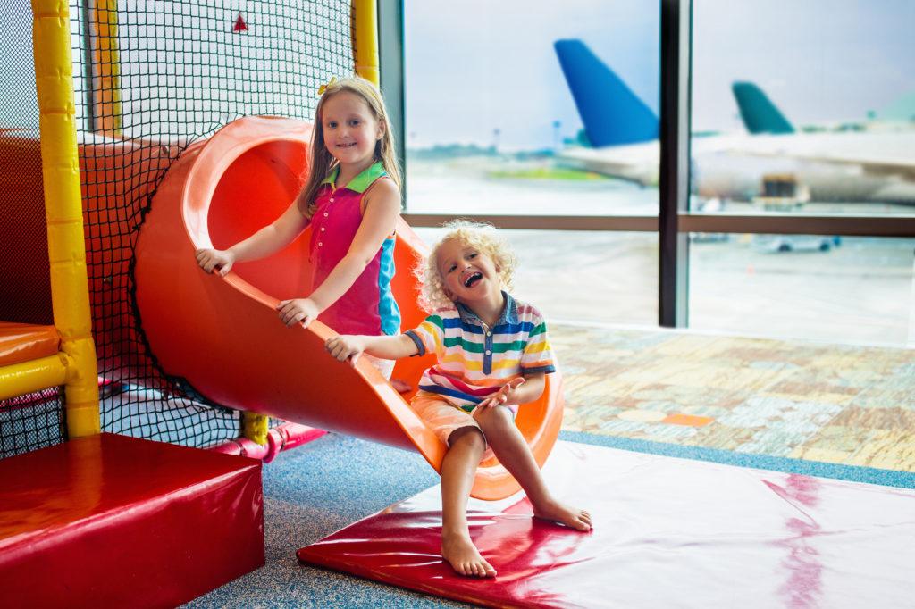 Kids playing in airport playground