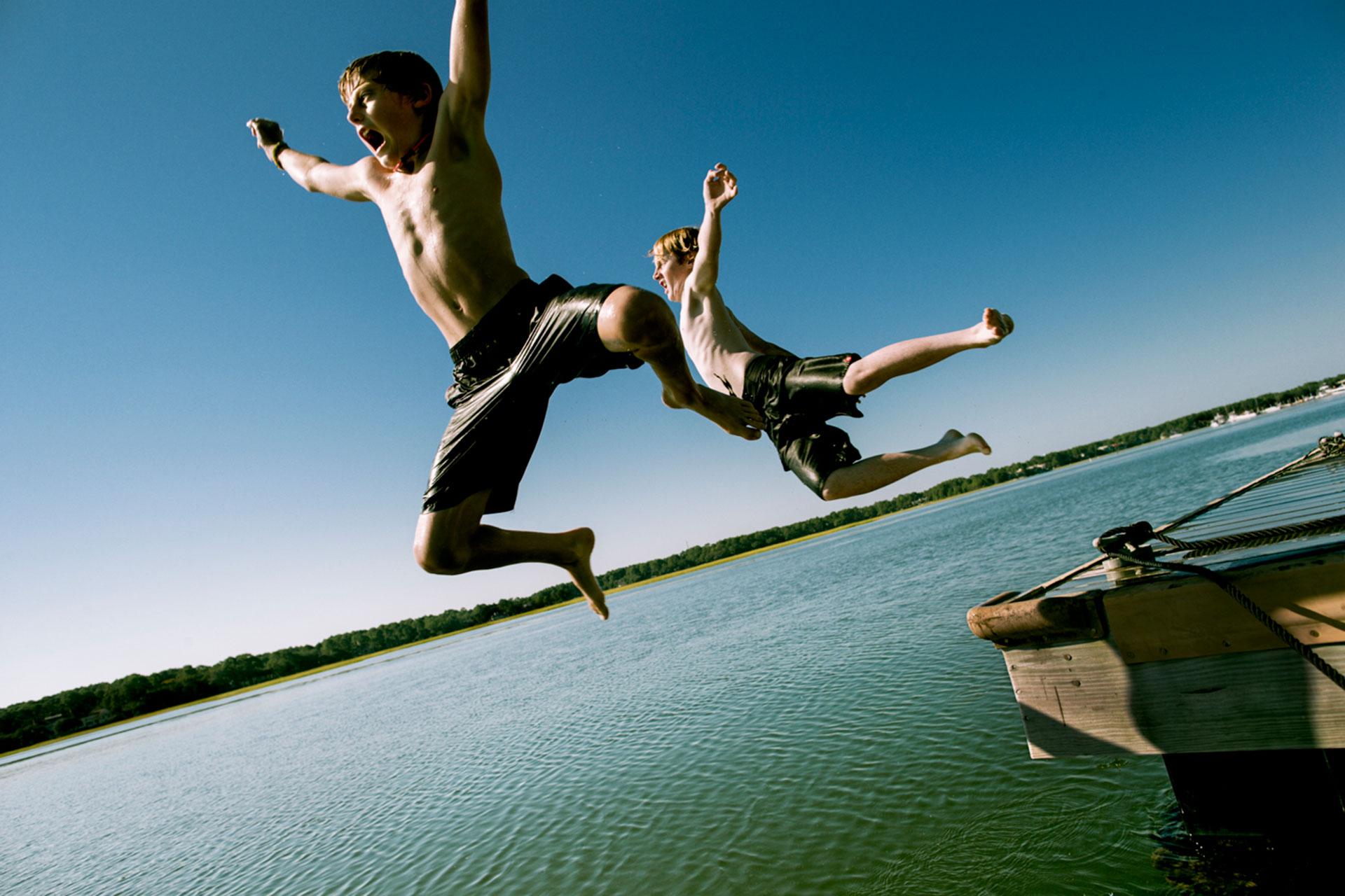 Kids Jumping Off Dock in Hilton Head, SC