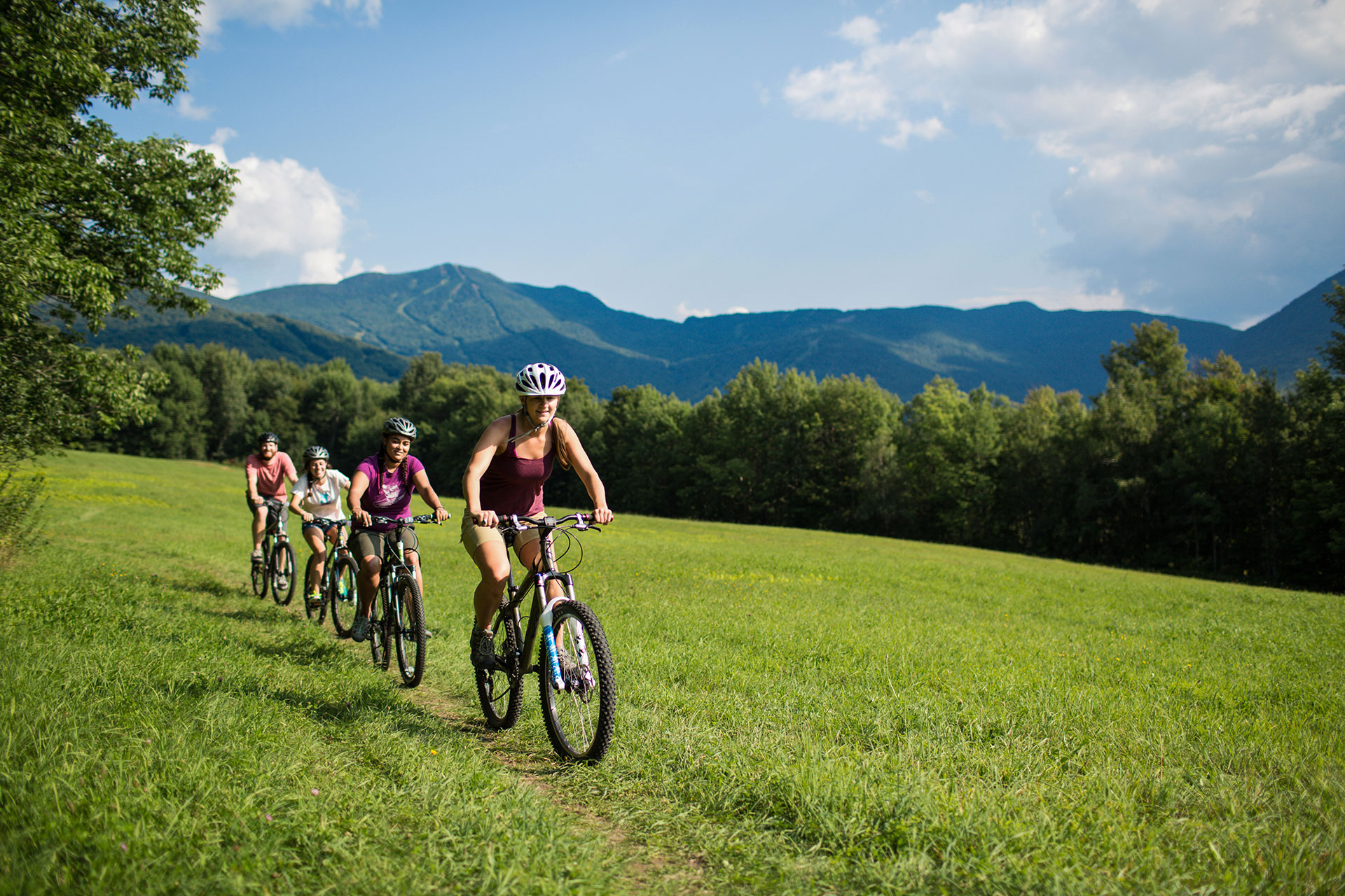 Biking at Smugglers' Notch in Vermont; Courtesy of Smugglers' Notch