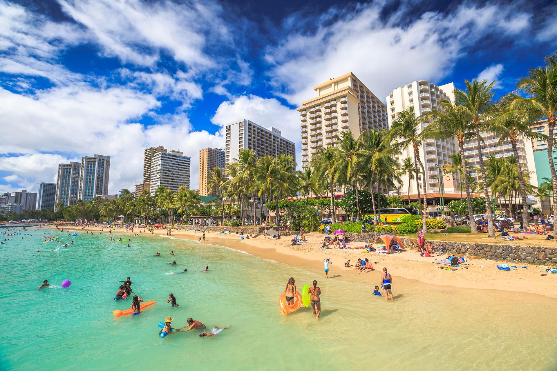 Waikiki Beach in Oahu, Hawaii; Courtesy of Benny Marty/Shutterstock.com