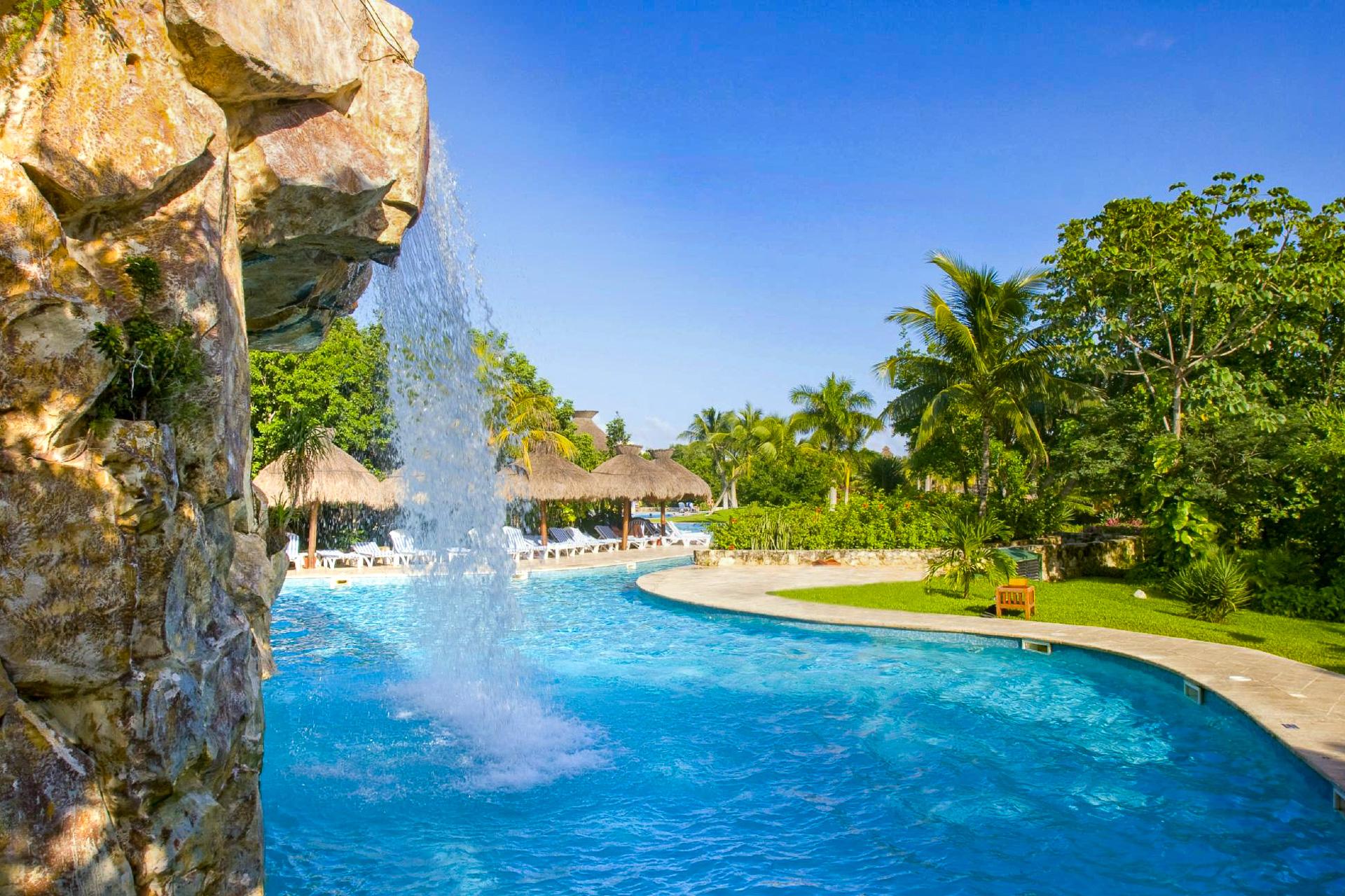 Pool fountain at Iberostar Paraiso Beach; Courtesy of IBEROSTAR Paraiso Beach