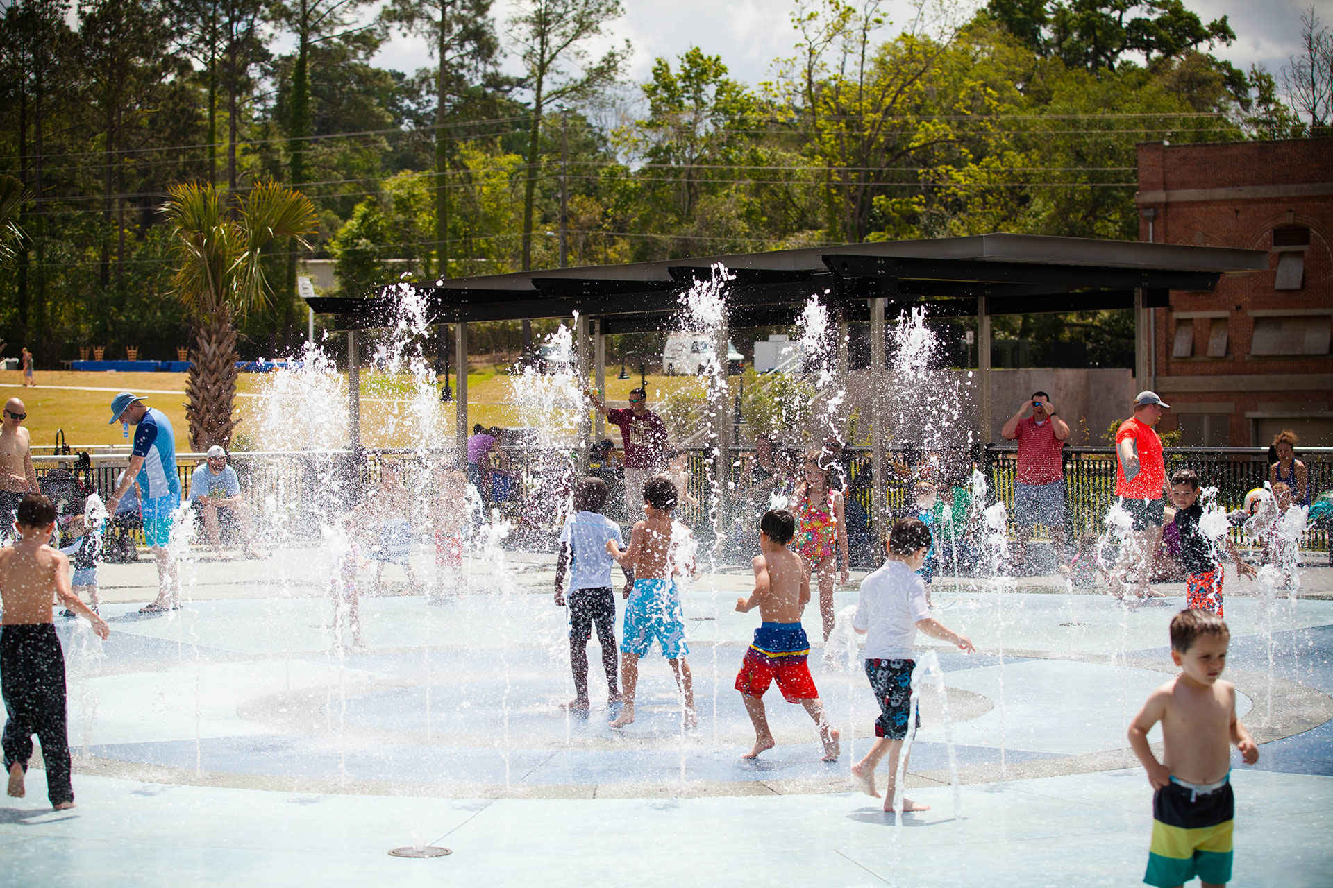 Kids Play in Water Fountain in Tallahassee, Florida; Courtesy of Visit Tallahassee