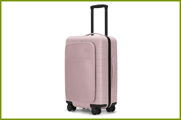 Away Carry-On Bag With Pocket in Pale Pink