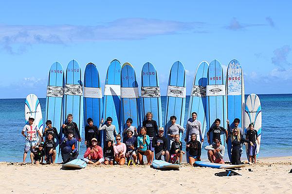 Surf lessons at Camp Erdman in Honolulu.