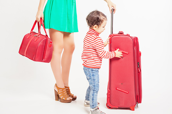 A little one with luggage