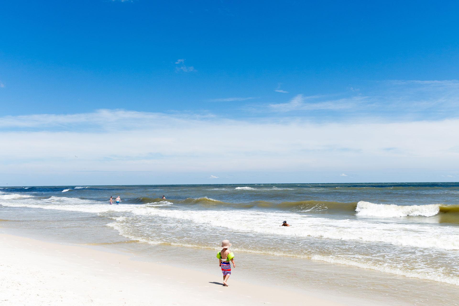 Kid on Beach in Gulf Shores, Alabama