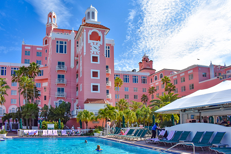 Don CeSar Hotel exterior and pool; Courtesy of VIAVAL/ Shutterstock