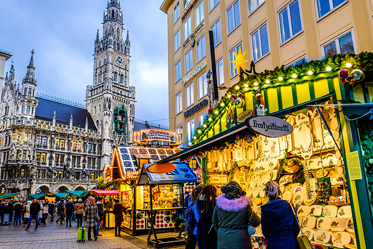 sales booth at the christmas market in Munich, Germany; Courtesy of FooTToo /Shutterstock