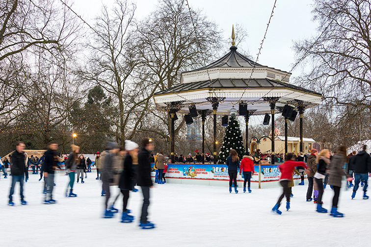 ice skating rink in Hyde Park in London; Courtesy of Thomas Dutour/Shutterstock