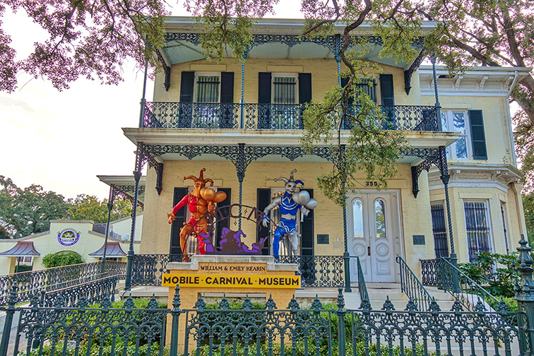 View of the Mobile Carnival Museum, located in the historic Bernstein-Bush mansion on Government Street in downtown Mobile, Alabama.; Courtesy EQRoy/Shutterstock