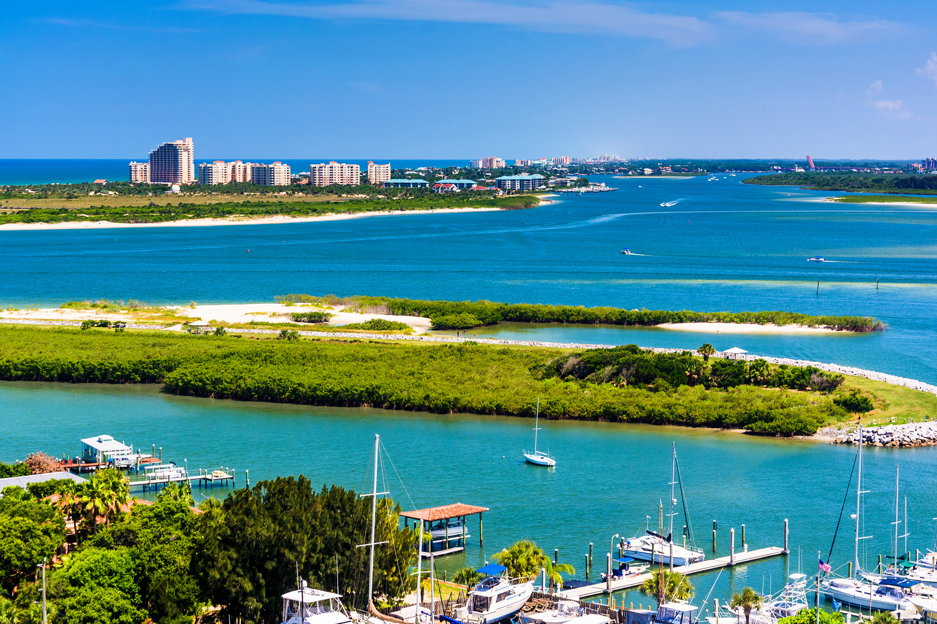 View of Ponce Inlet and New Smyrna Beach from Ponce de Leon Inlet Lighthouse
