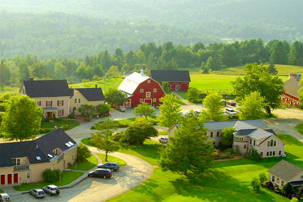An aerial shot of Wildflower Inn in Lyndonville, Vermont