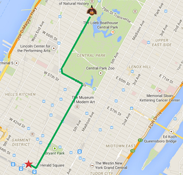 A map of the 2014 Macy's Thanksgiving Day Parade route in New York City.