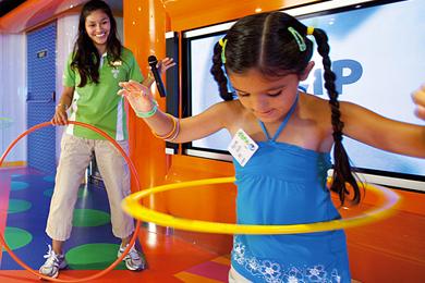 Young Girl Hula Hooping at Camp Carnival