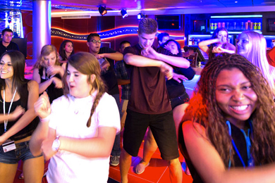 Teens Dancing at Club O2 on Carnival Cruise Line