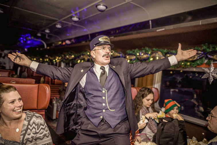 adirondack polar express train; Courtesy of Adirondack Scenic Railroad