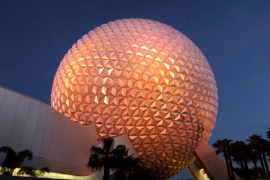 The entrance to Epcot in Florida.