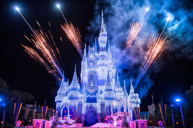 Cinderella's Castle in Magic Kingdom frozen over in honor of Disney's 'Frozen.'