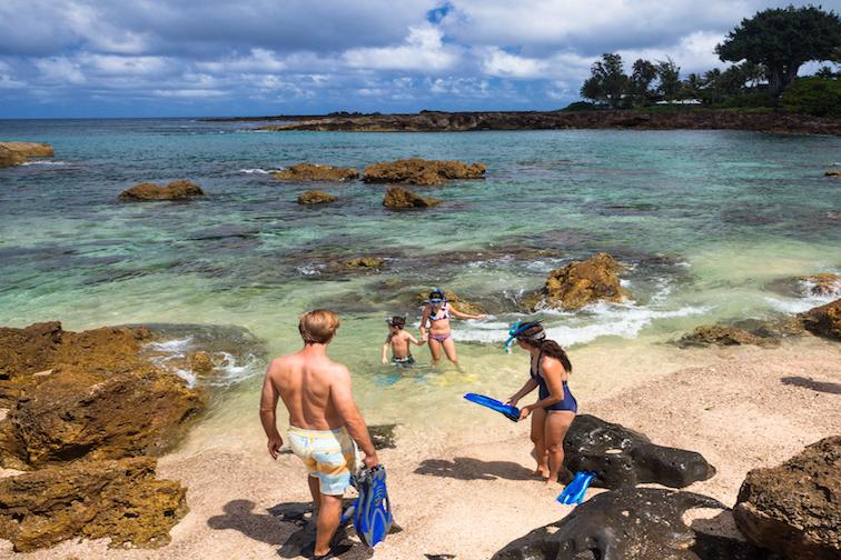Family on Beach in Oahu