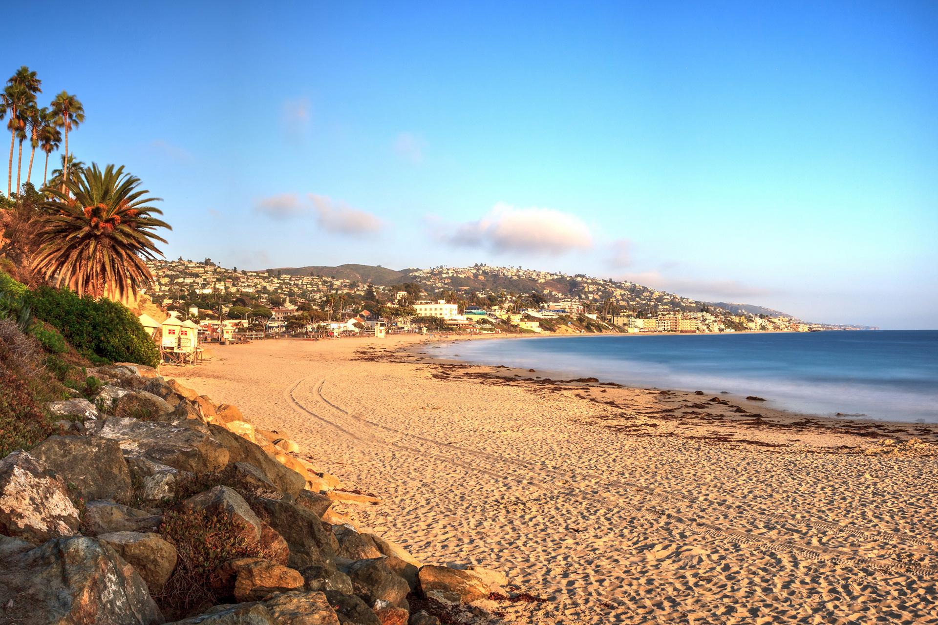 Golden Hour over the ocean at Main Beach in Laguna Beach, California; Courtesy of LagunaticPhoto/Shutterstock
