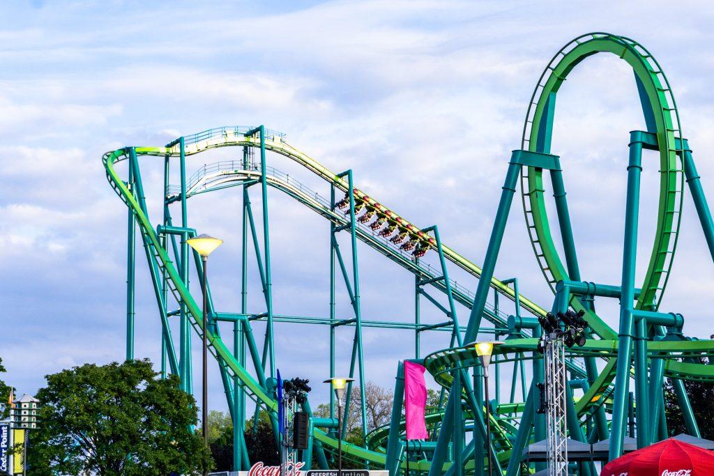 Cedar Point Amusement Park - Sunset in Park on Raptor; Courtesy of David McGill 71/Shutterstock