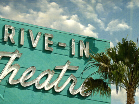Drive-In Movie Theater Sign; Courtesy of J.D.S/Shutterstock.com