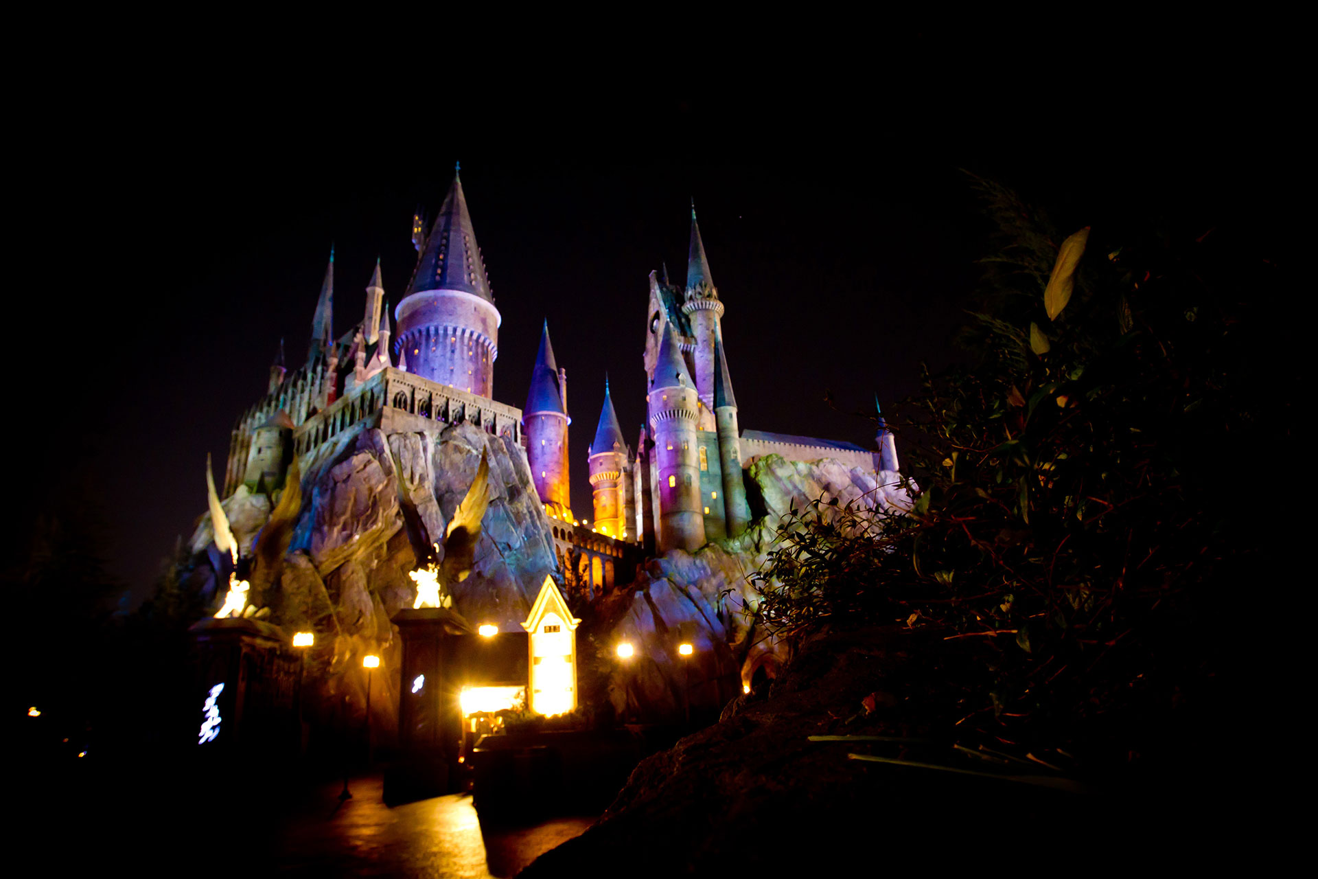 Nighttime at The Wizarding World of Harry Potter