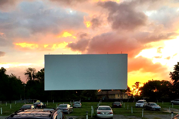 Screen at Bengies Drive-In during sunset