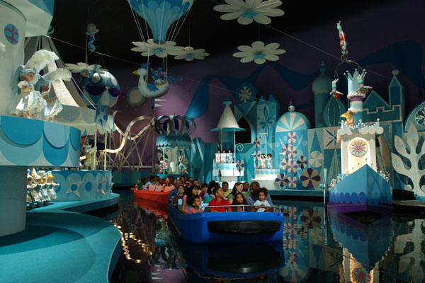 Families ride 'it's a small world' at Disney World in Florida.