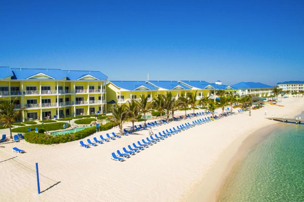The beach at the Wyndham Reef Resort in the Cayman Islands.