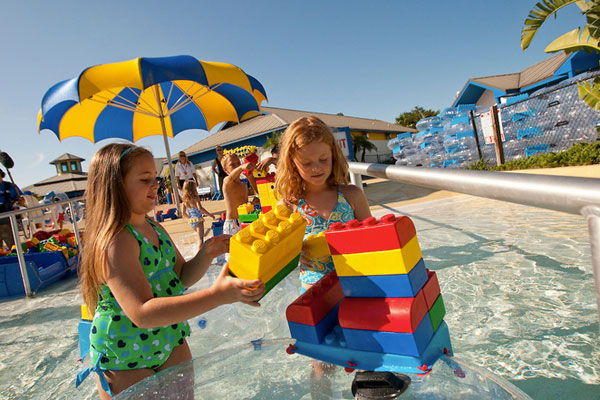 Little girls playing at the LEGOLAND Florida Water Park.