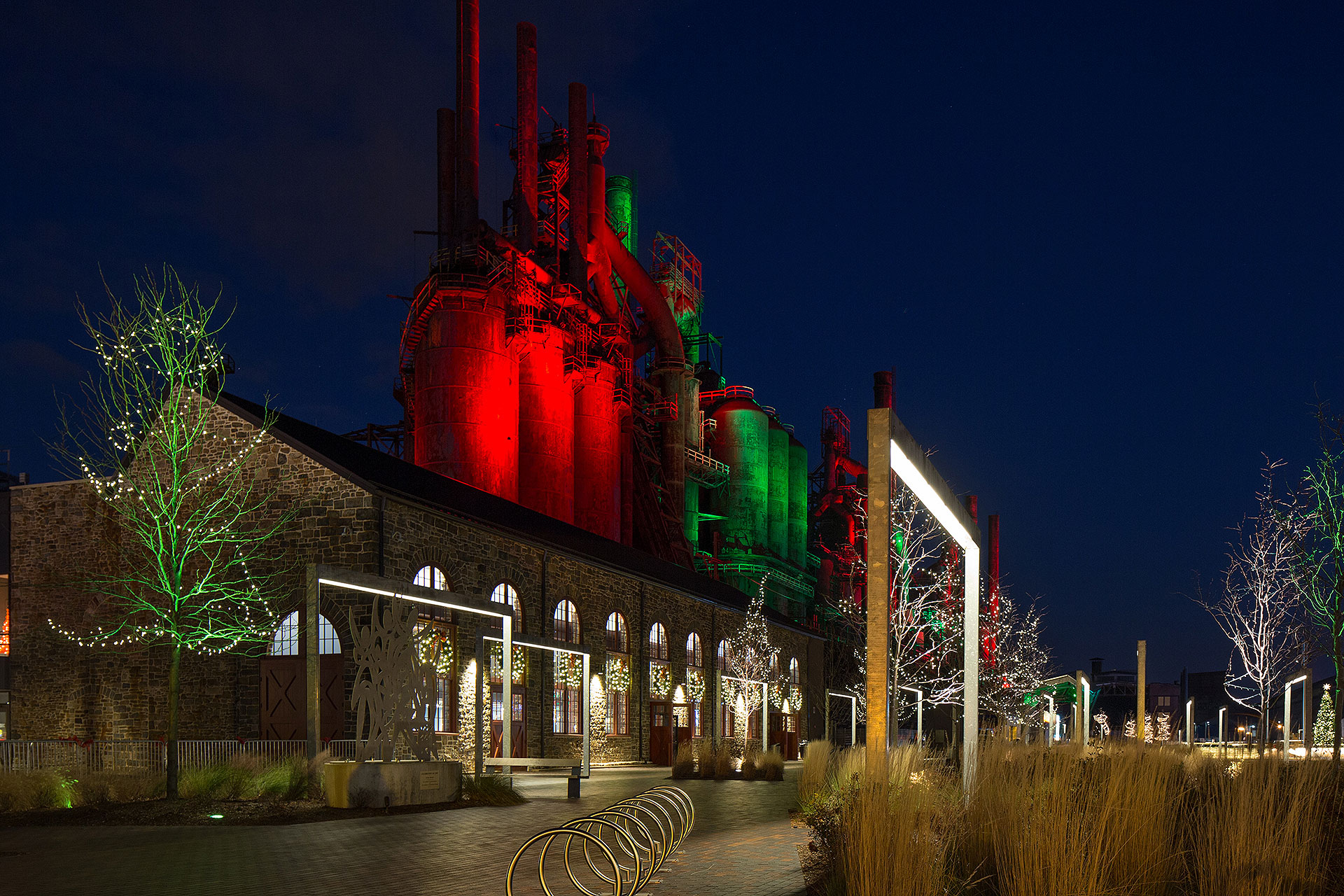 Bethlehem Steel Stacks at Christmastime; Courtesy of Discover Lehigh Valley