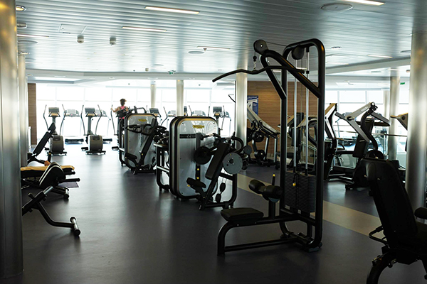 The fitness center onboard Anthem of the Seas.