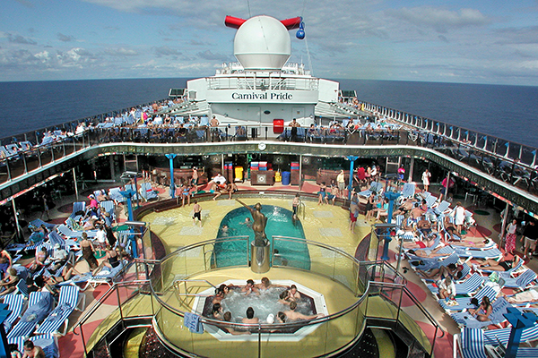 One of the pools onboard Carnival Pride.