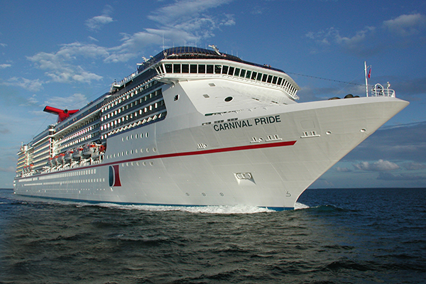 An exterior shot of Carnival Pride.