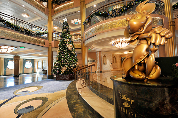 The atrium lobby aboard the Disney Fantasy decked out for Christmas.