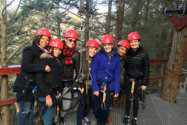 A group participating in the Mid-Mountain Tour with Zip Line New York.