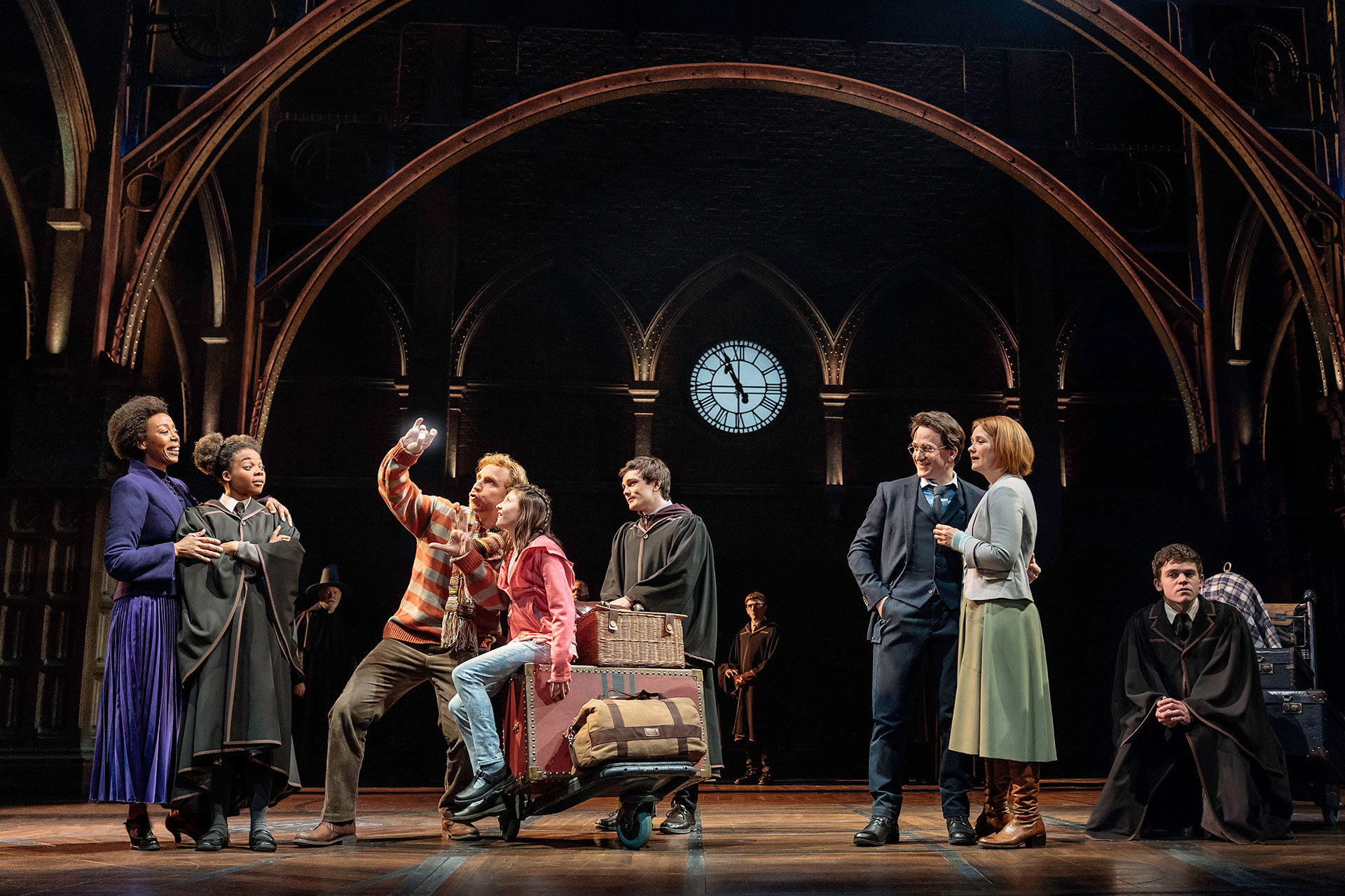 Noma Dumezweni, Susan Heyward, Paul Thornley, Olivia Bond, Ben Wheelwright, Jamie Parker, Poppy Miller, and Sam Clemmett in Harry Potter and the Cursed Child: Parts 1 and 2; Courtesy of Manuel Harlan