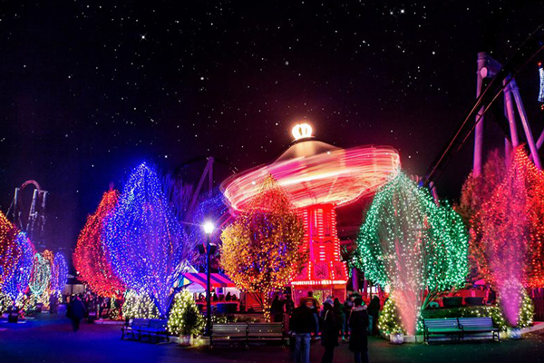 Hersheypark is lit up for Christmas Candylane and Sweet Lights.