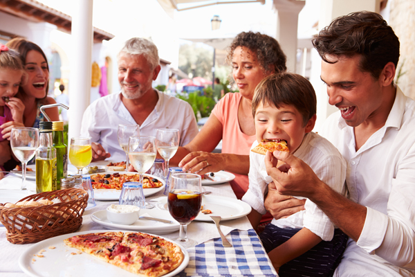 Family enjoys meal without worrying about allergies.