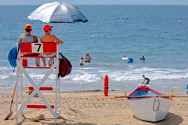 Lifeguards patrolling the beach at Misquamicut State Beach.