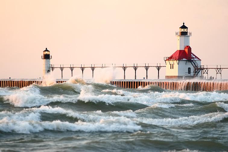 St Joseph North Pier Lighthouse at sunset; Courtesy of Suzanne Tucker/Shutterstock