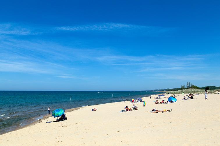 The Beach at Saugatuck, Michigan; Courtesy of Philip Mowbray/Shutterstock
