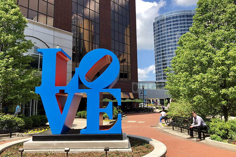 Iconic pop art blue LOVE sculpture in downtown Grand Rapids; Courtesy of By Malgosia S/Shutterstock