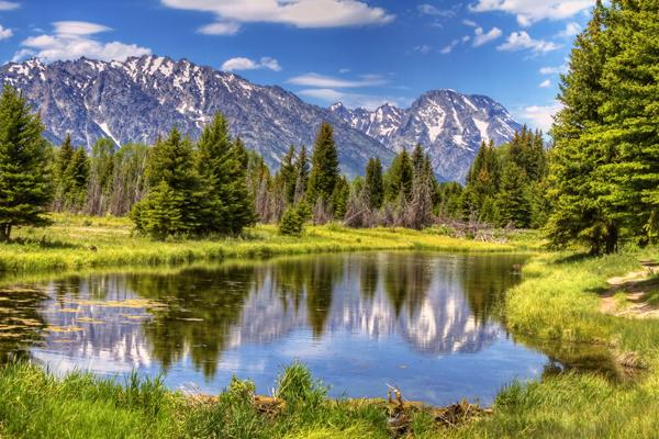 Lake and mountains at Grand Teton National Park.