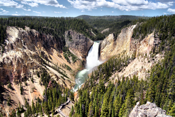 Waterfall in Yellowstone National Park.