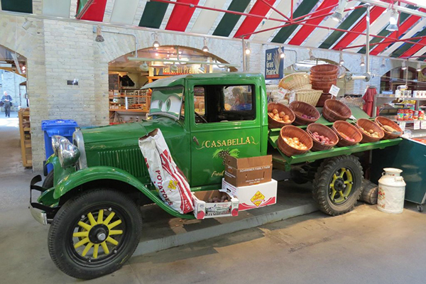 Food truck inside the market at the Forks National Historic Site.