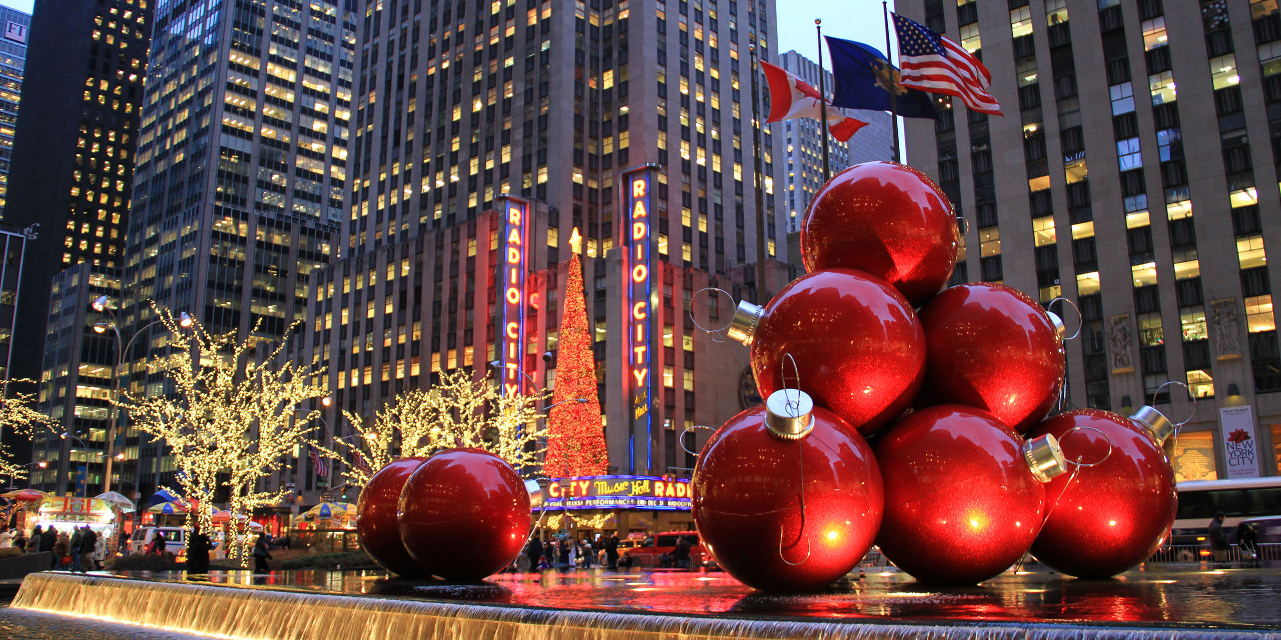 Giant Christmas Tree Ornaments in Rockefeller Center; Courtesy of TerraceStudio/Shutterstock.com