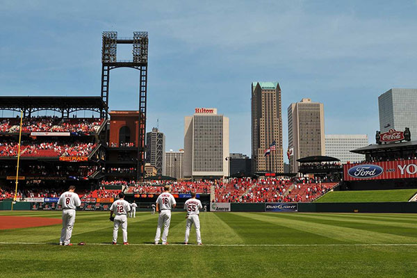 A view of the Hilton St. Louis at the Ballpark from Busch Stadium.
