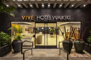 Vive Hotel Waikiki front entrance; Courtesy of Vive Hotel Waikiki